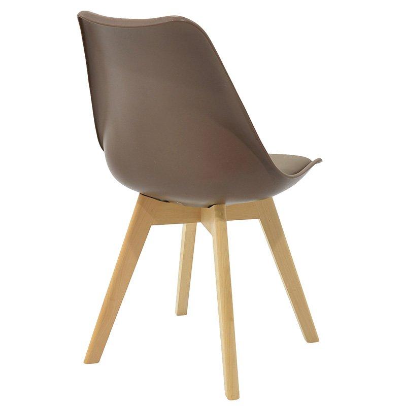 Καρέκλα Gaston pakoworld πολυπροπυλενίου-PU χρώμα μόκα - φυσικό