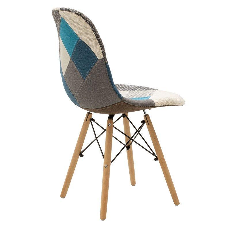 Καρέκλα Julita pakoworld πολυπροπυλενίου-ύφασμα patchwork μπλε γκρι - φυσικό