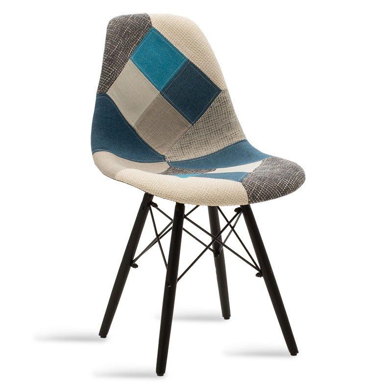 Καρέκλα Julita pakoworld πολυπροπυλενίου-ύφασμα patchwork μπλε γκρι - μαύρο