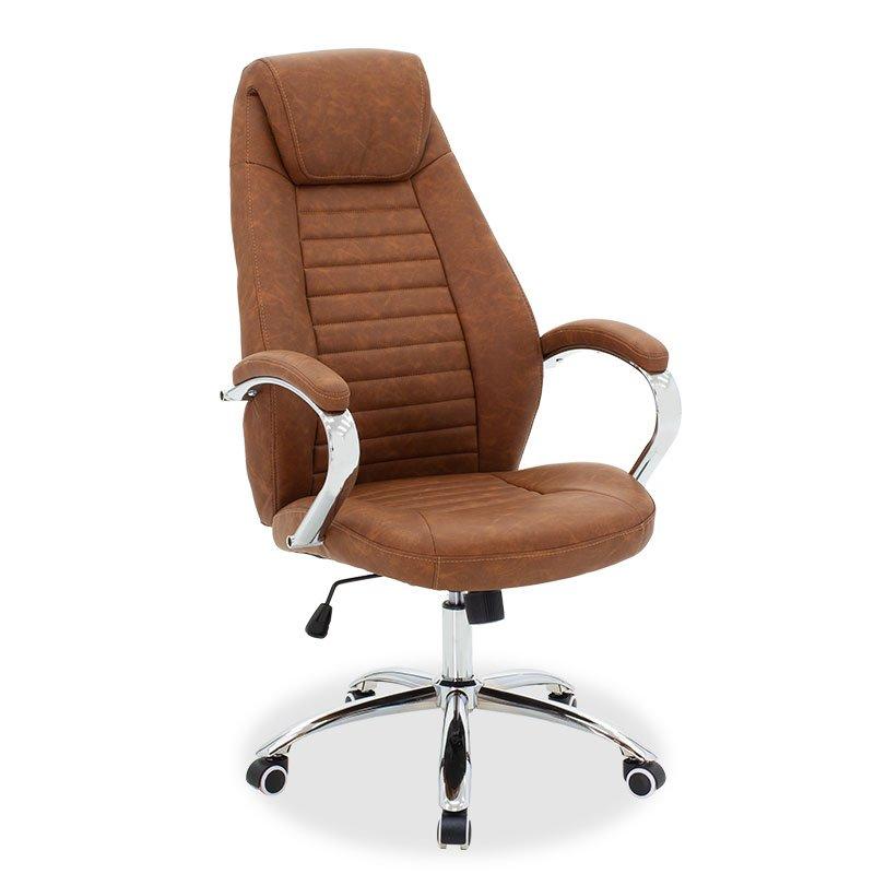 Καρέκλα γραφείου διευθυντή Sonar pakoworld pu καφέ ταμπά