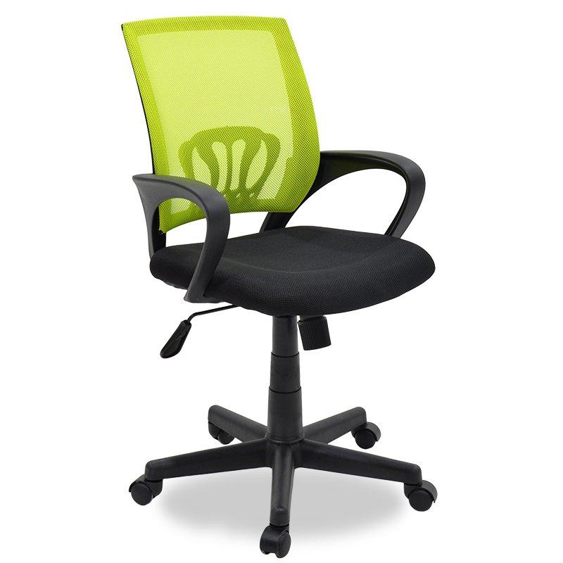 Καρέκλα γραφείου εργασίας Berto pakoworld με ύφασμα mesh χρώμα μαύρο-πράσινο