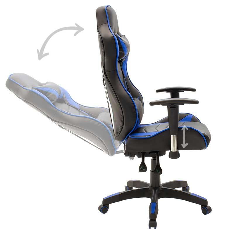 Kαρέκλα γραφείου Βucket - Gaming Gaia pakoworld τεχνόδερμα μαύρο - μπλε