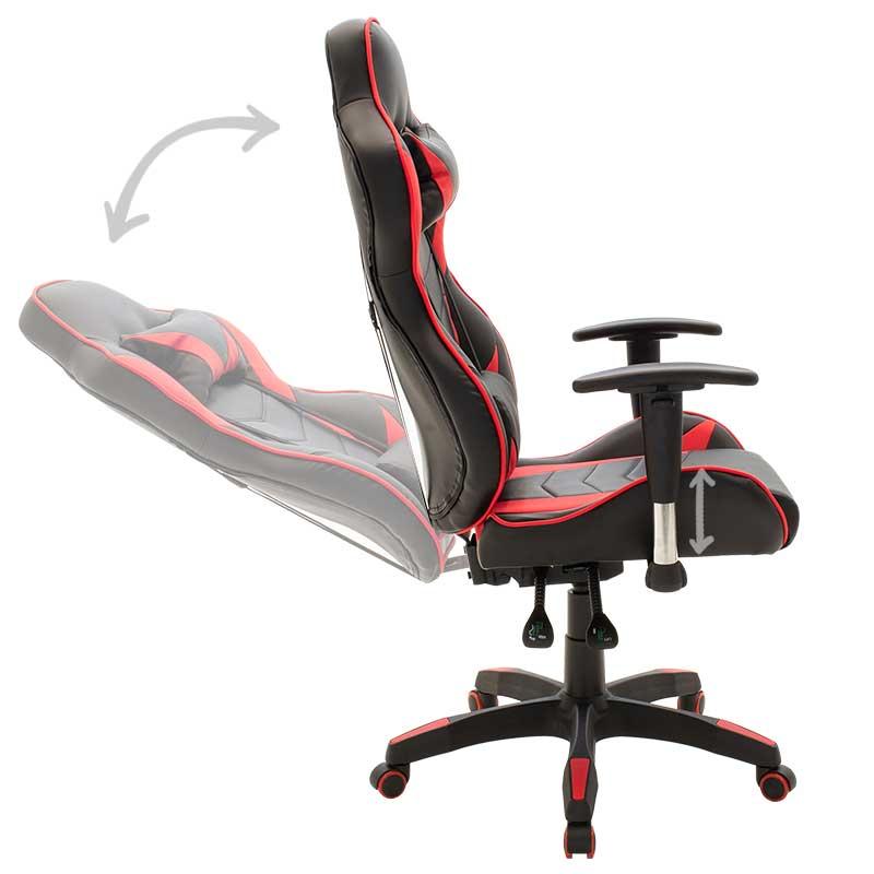 Kαρέκλα γραφείου Βucket - Gaming Gaia pakoworld τεχνόδερμα μαύρο - κόκκινο