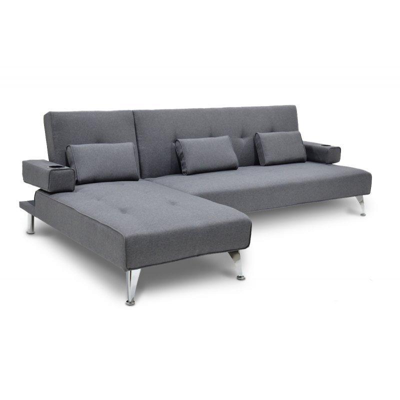 Γωνιακός καναπές κρεβάτι Luxury pakoworld με γκρι ύφασμα 258x156x84εκ