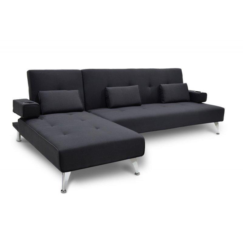 Γωνιακός καναπές κρεβάτι Luxury pakoworld με μαύρο ύφασμα 258x156x84εκ