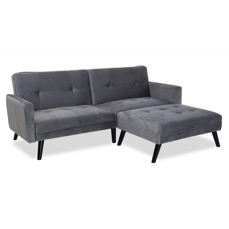 Γωνιακός καναπές-κρεβάτι με σκαμπό Dream pakoworld  γκρι-ασημί βελούδο 209x87-195x80εκ