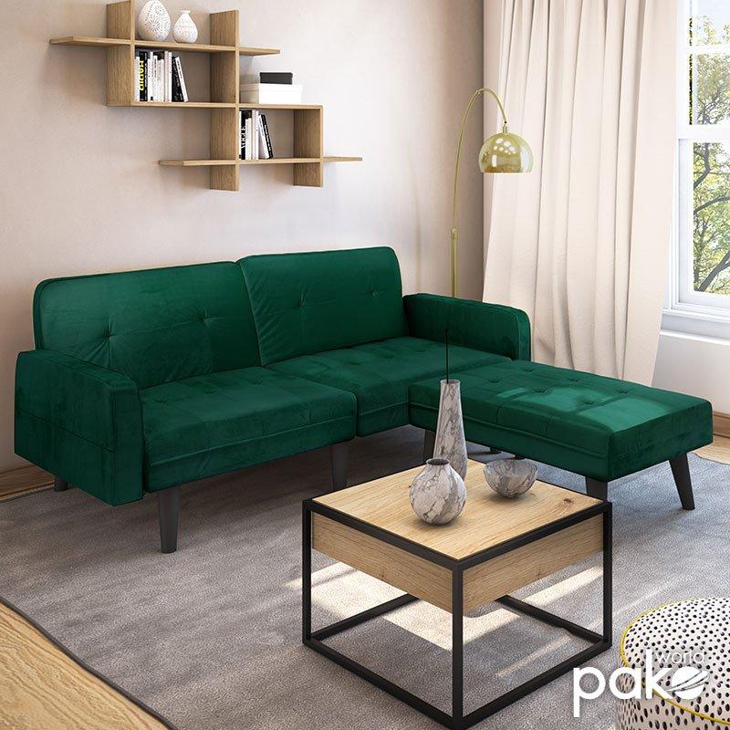 Γωνιακός καναπές-κρεβάτι με σκαμπό Dream pakoworld  σκούρο πράσινο βελούδο 209x87-195x80εκ
