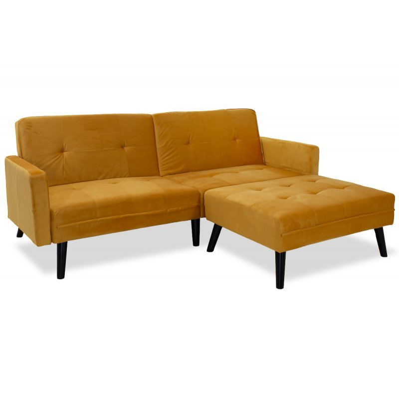 Γωνιακός καναπές-κρεβάτι με σκαμπό Dream pakoworld  κίτρινο βελούδο 209x87-195x80εκ