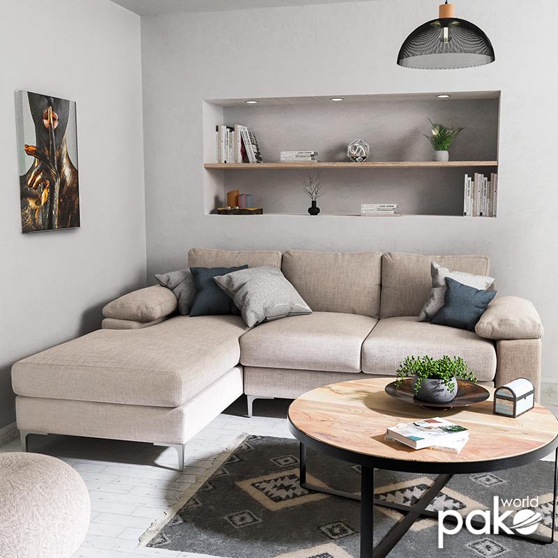 Γωνιακός καναπές Cohen pakoworld με δεξιά γωνία ύφασμα μπεζ 240x159x83εκ