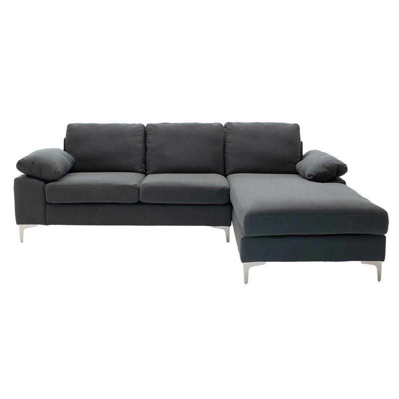 Γωνιακός καναπές Cohen pakoworld με αριστερή γωνία ύφασμα ανθρακί 240x159x83εκ