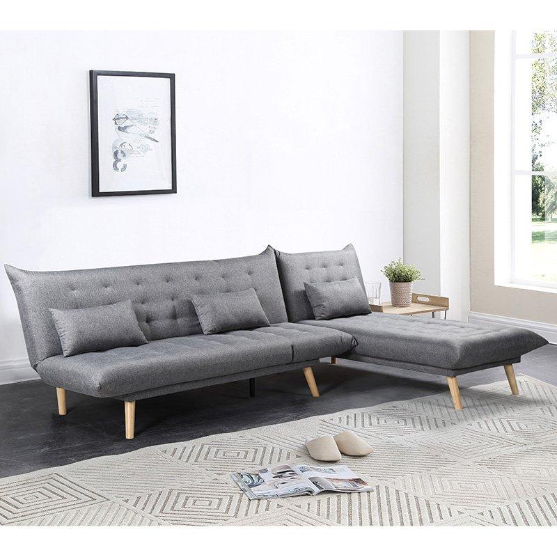 Γωνιακός καναπές-κρεβάτι Maximus pakoworld αναστρέψιμος ύφασμα γκρι 271x192x86εκ
