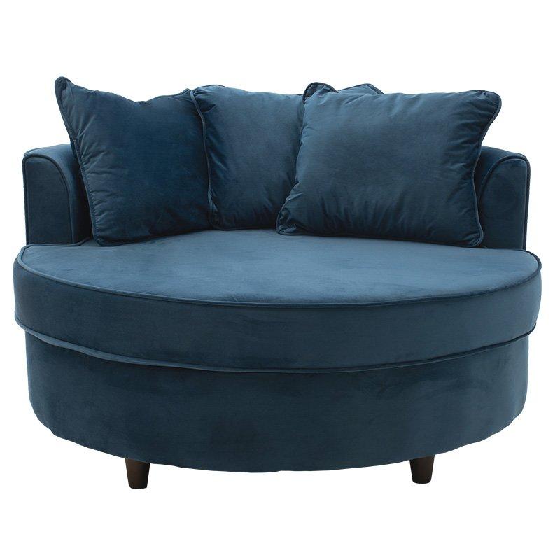 Πολυθρόνα-καναπές Ophelia pakoworld βελούδο σκούρο μπλε 123x120x85εκ