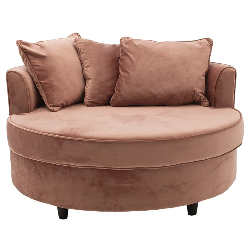 Πολυθρόνα-καναπές Ophelia pakoworld βελούδο σάπιο μήλο 123x120x85εκ