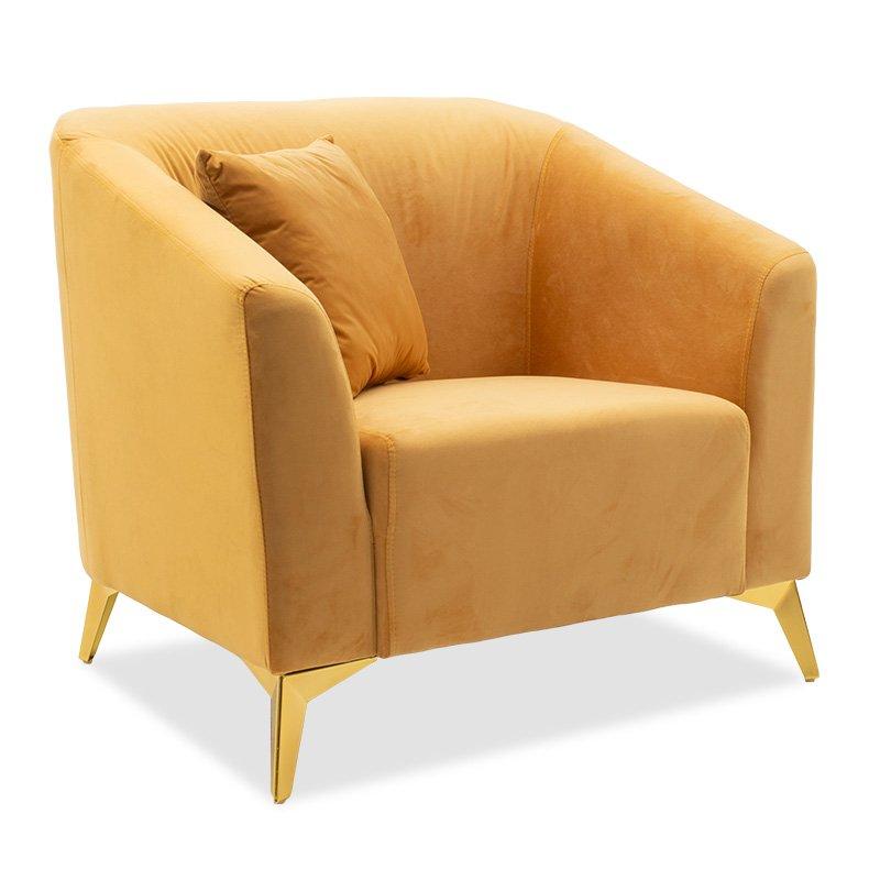 Πολυθρόνα Pax pakoworld βελούδο κίτρινο 87x77x82εκ