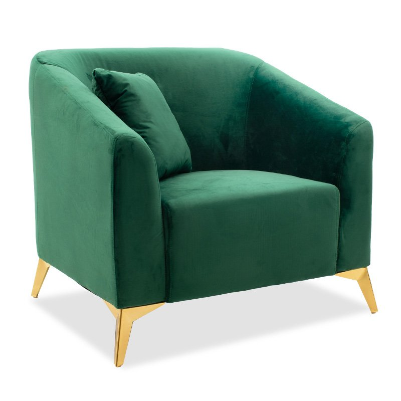 Πολυθρόνα Pax pakoworld βελούδο σκούρο πράσινο 87x77x82εκ