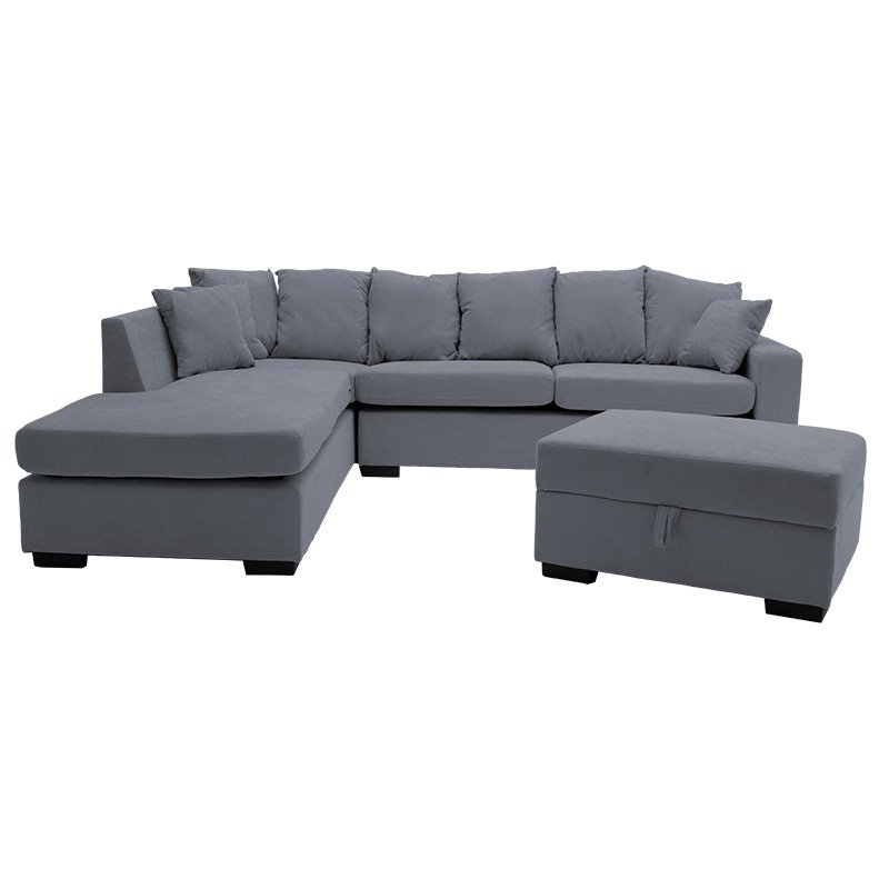 Γωνιακός καναπές Dean pakoworld δεξιά γωνία-σκαμπό ύφασμα ανθρακί 257x207x83εκ