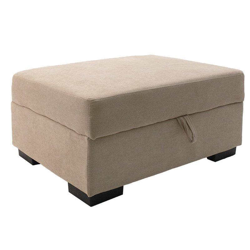 Γωνιακός καναπές Dean pakoworld αριστερή γωνία-σκαμπό ύφασμα μπεζ 257x207x83εκ
