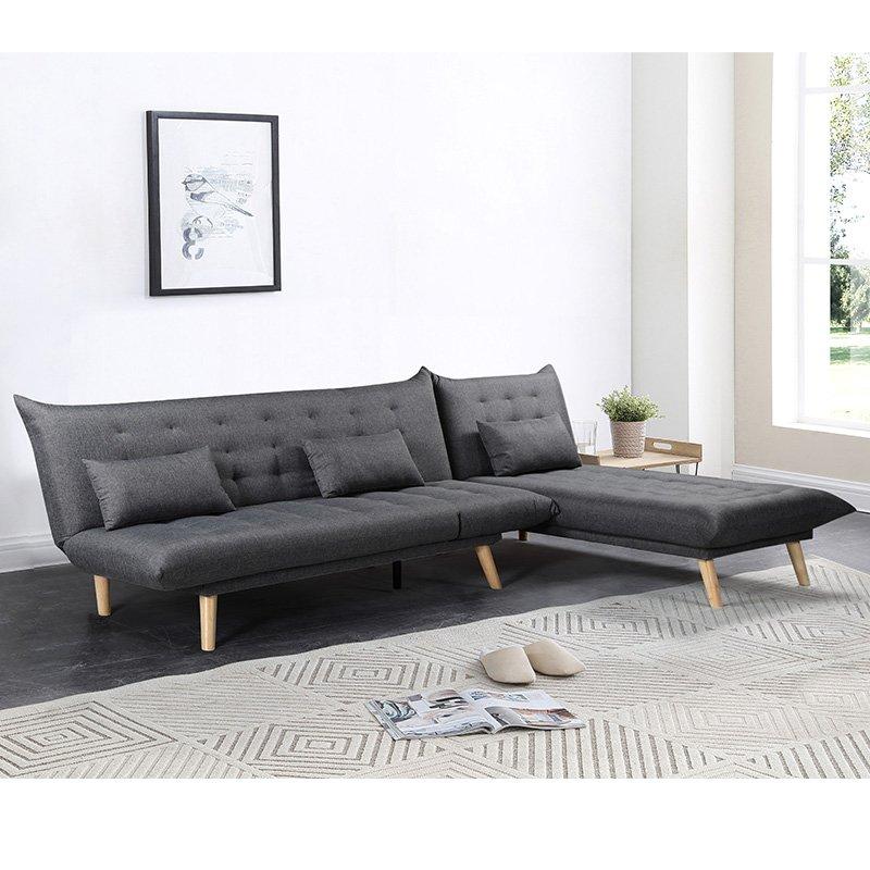 Γωνιακός καναπές-κρεβάτι Maximus pakoworld αναστρέψιμος ύφασμα ανθρακί 271x192x86εκ