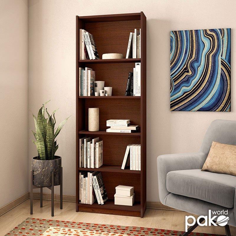 Βιβλιοθήκη Max pakoworld σε καρυδί spanish χρώμα 58x23x170εκ