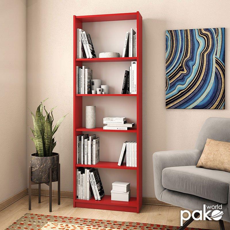 Βιβλιοθήκη Max pakoworld σε κόκκινο χρώμα 58x23x170εκ