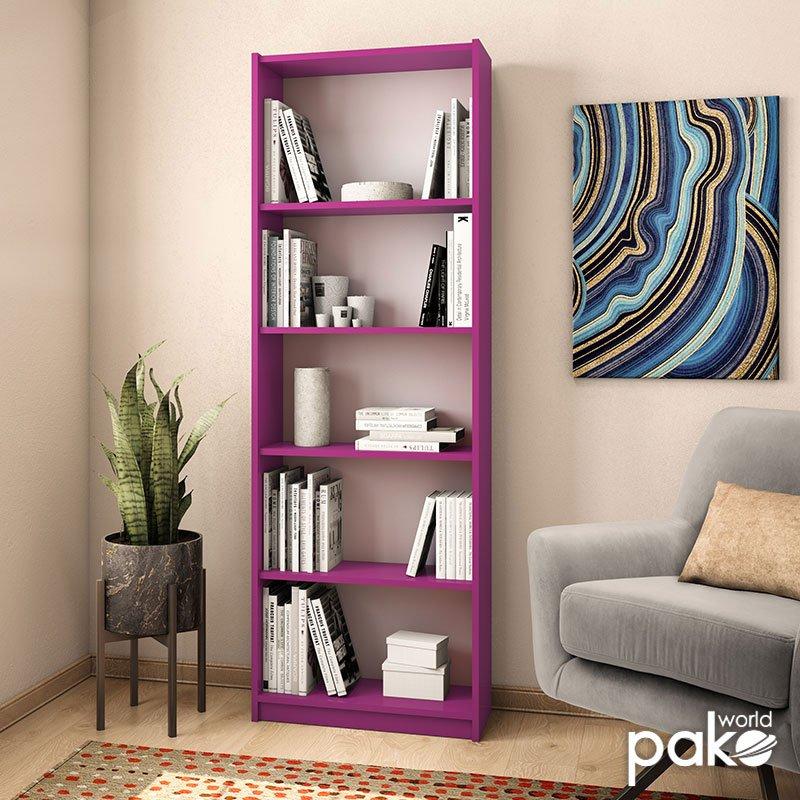 Βιβλιοθήκη Max pakoworld σε μωβ χρώμα 58x23x170εκ
