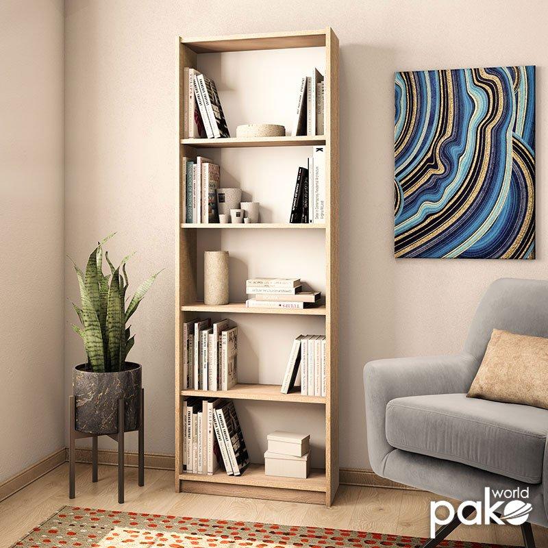 Βιβλιοθήκη Max pakoworld σε sonoma χρώμα 58x23x170εκ