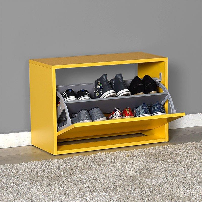 Παπουτσοθήκη ανακλινόμενη Step 6 ζεύγων pakoworld σε χρώμα κίτρινο 60x30x42εκ