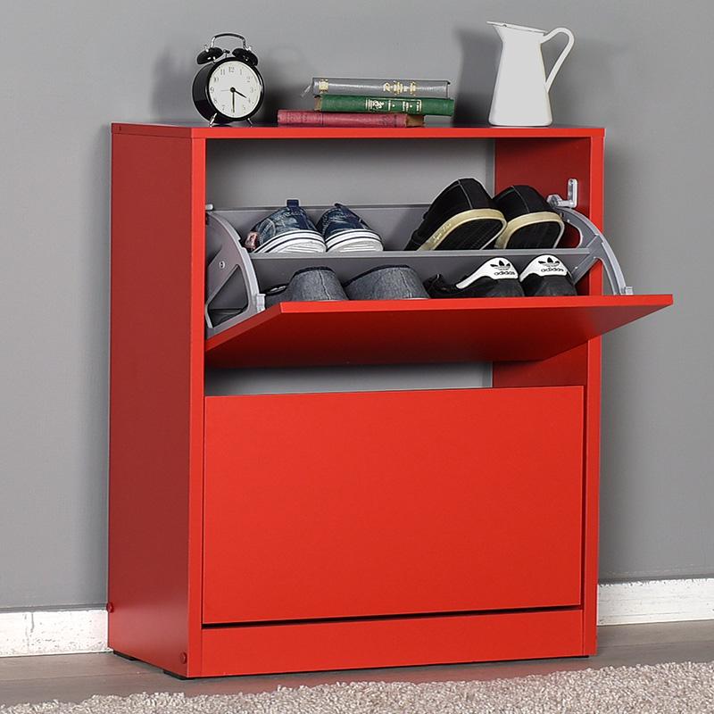 Παπουτσοθήκη ανακλινόμενη Step 12 ζεύγων pakoworld σε χρώμα κόκκινο 73x26x84εκ
