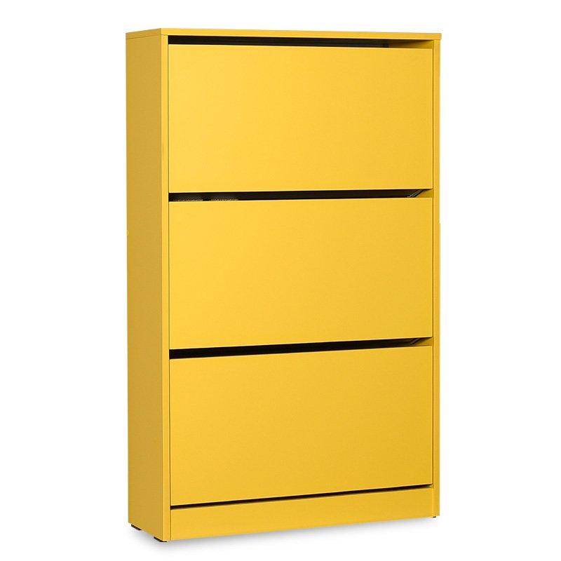 Παπουτσοθήκη ανακλινόμενη Step 18 ζεύγων pakoworld σε χρώμα κίτρινο 73x26x119εκ