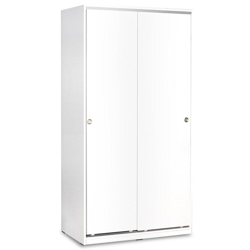 Ντουλάπα ρούχων Slide pakoworld δίφυλλη με συρόμενες πόρτες χρώμα λευκό 94x52x182εκ