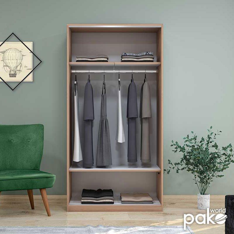 Ντουλάπα ρούχων Slide pakoworld δίφυλλη με συρόμενες πόρτες χρώμα sonoma 94x52x182εκ