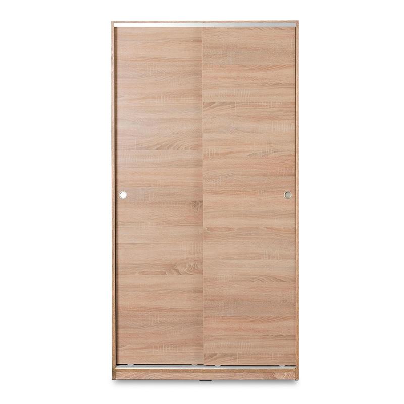 Ντουλάπα ρούχων Slide pakoworld δίφυλλη με συρόμενες πόρτες - χώρισμα χρώμα sonoma 94x52x182εκ