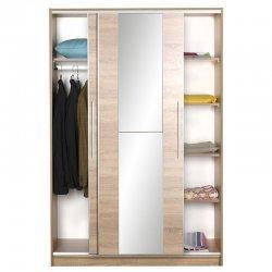 Ντουλάπα ρούχων Slide pakoworld δίφυλλη με συρόμενες πόρτες χρώμα sonoma 120x52x182εκ