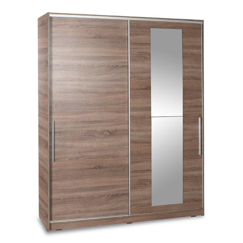 Ντουλάπα ρούχων Slide pakoworld δίφυλλη με συρόμενες πόρτες χρώμα latte 160x60x207εκ