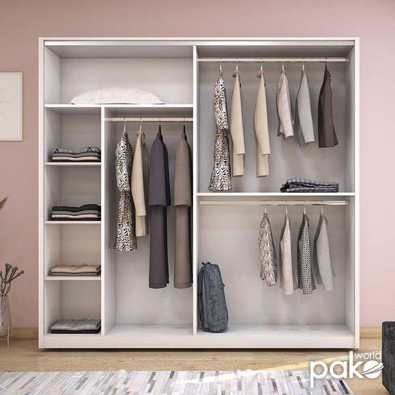 Ντουλάπα ρούχων Slide pakoworld δίφυλλη με συρόμενες πόρτες χρώμα λευκό 210x60x207εκ