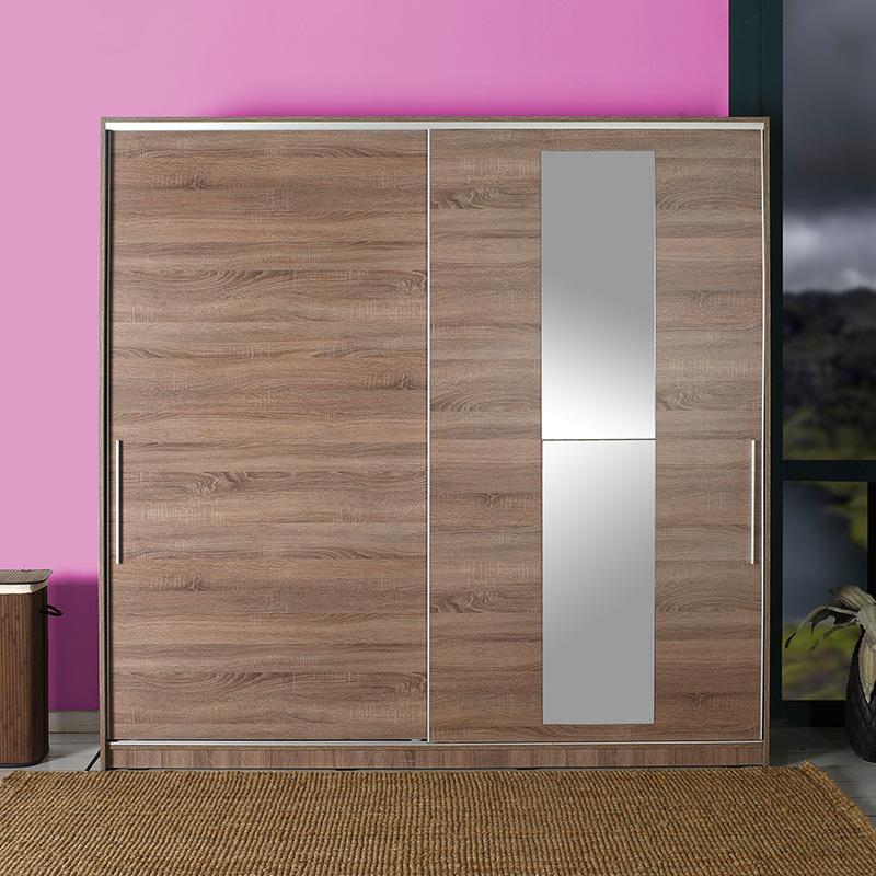 Ντουλάπα ρούχων Slide pakoworld δίφυλλη με συρόμενες πόρτες χρώμα latte 210x60x207εκ