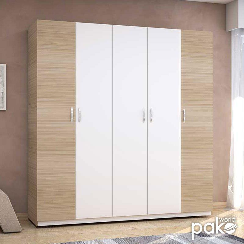 Ντουλάπα ρούχων Drum pakoworld πεντάφυλλη χρώμα φυσικό-λευκό 200x53x209εκ