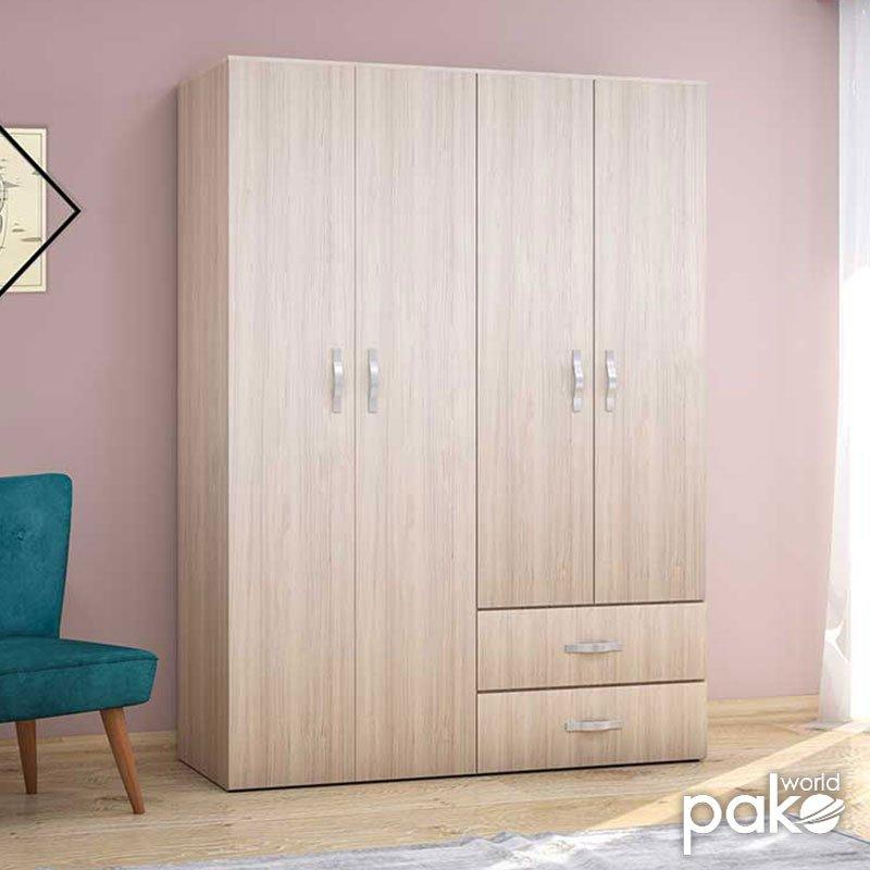 Ντουλάπα ρούχων Dynamic pakoworld τετράφυλλη με συρτάρια χρώμα light sonoma 137x52x187εκ