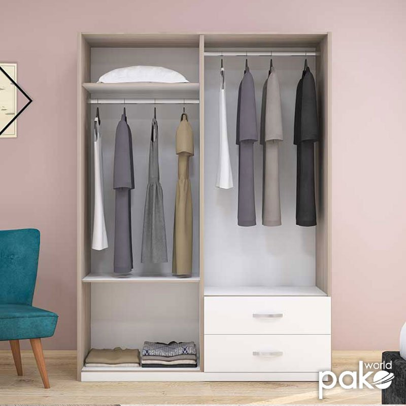 Ντουλάπα ρούχων Drum pakoworld τετράφυλλη χρώμα φυσικό-λευκό 140x53x182εκ