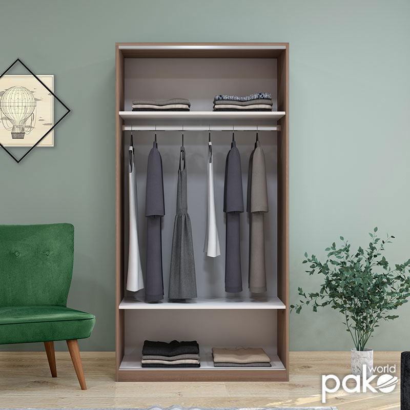 Ντουλάπα ρούχων Slide pakoworld δίφυλλη με συρόμενες πόρτες χρώμα latte 94x52x182εκ