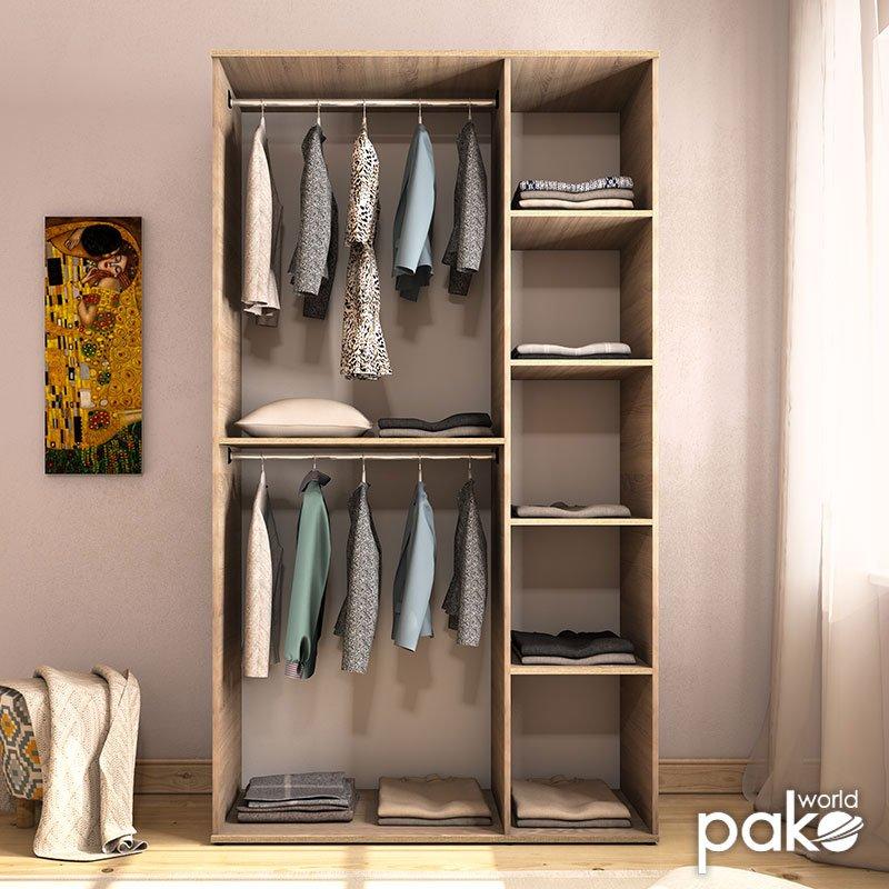 Ντουλάπα ρούχων Trendline pakoworld τρίφυλλη χρώμα sonoma 120x52x212εκ