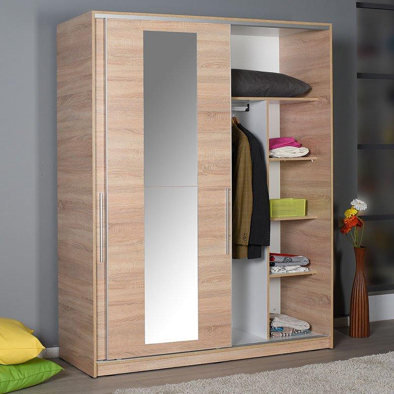 Ντουλάπα ρούχων Slide pakoworld δίφυλλη με συρόμενες πόρτες χρώμα sonoma 160x60x207εκ