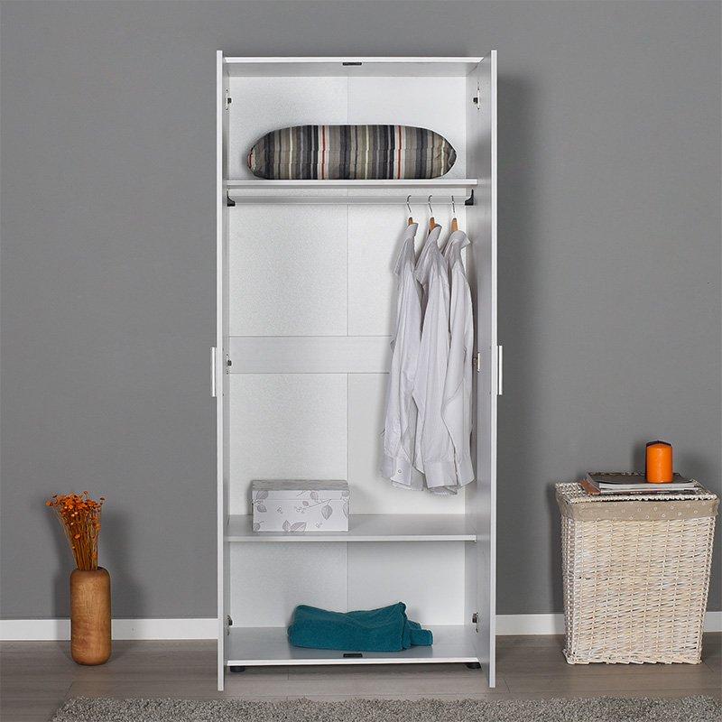 Ντουλάπα ρούχων Trend pakoworld δίφυλλη χρώμα λευκό 80x47x187εκ