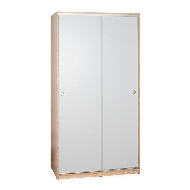 Ντουλάπα ρούχων Slide pakoworld δίφυλλη συρόμενες πόρτες λευκό-sonoma 94x52x182εκ