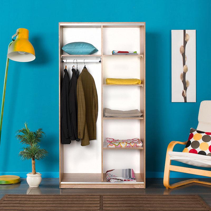 Ντουλάπα ρούχων Slide pakoworld δίφυλλη συρόμενες πόρτες-χώρισμα λευκό-sonoma 94x52x182εκ
