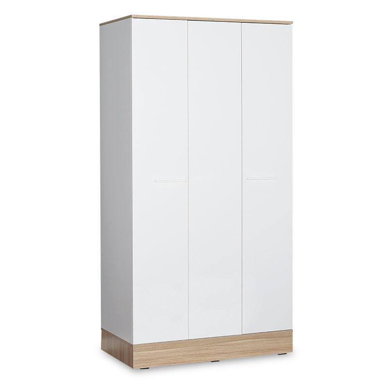 Ντουλάπα ρούχων Prue pakoworld τρίφυλλη λευκό-sonoma 120x52x198εκ