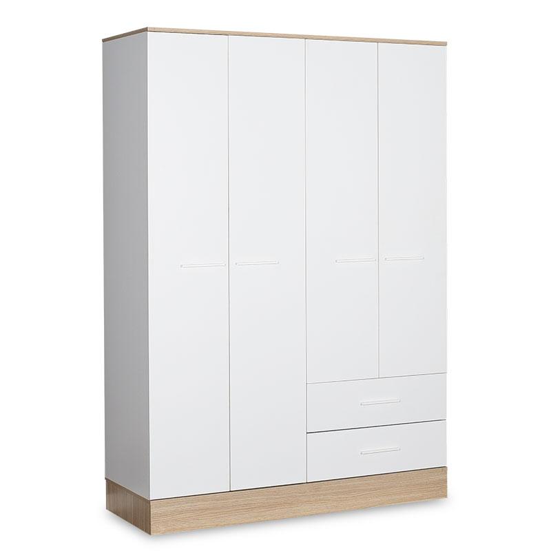 Ντουλάπα ρούχων Prue pakoworld τετράφυλλη με συρτάρια λευκό-sonoma 137x52x198εκ