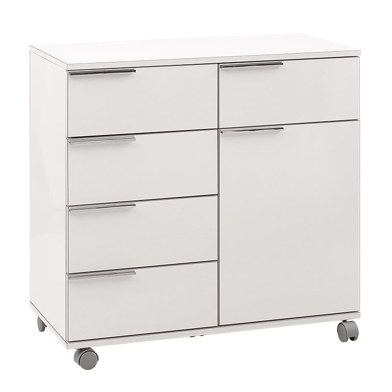 Ντουλάπι-συρταριέρα Chad pakoworld τροχήλατη λευκό gloss 84x44x81εκ