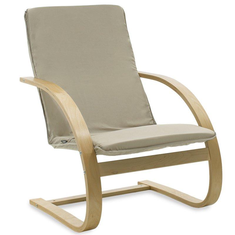 Πολυθρόνα Rena pakoworld σε ανοιχτό λαδί ύφασμα και φυσικό ξύλο