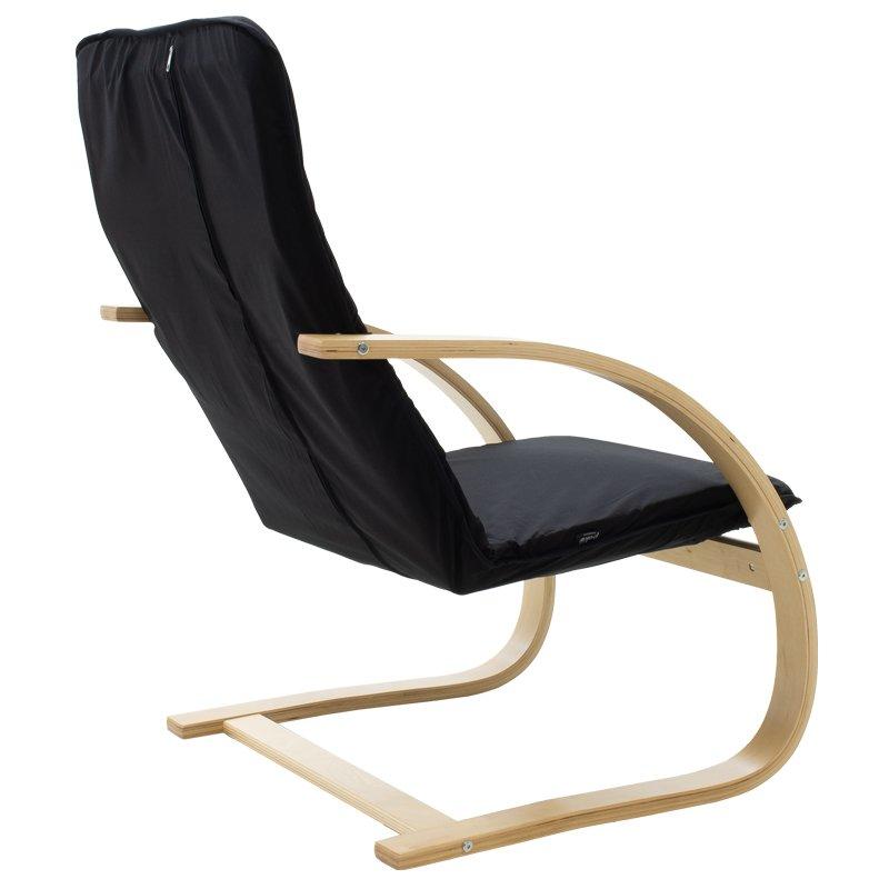 Πολυθρόνα Rena pakoworld σε μαύρο ύφασμα και φυσικό ξύλο